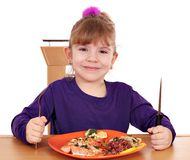 Little girl healthy eating Stock Photos
