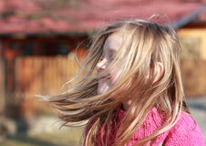 Little girl with hears flying in the wind. Smiling little girl in a ping pullover with hears flying in the wind Stock Photos