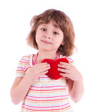 Little girl with heart. Pretty little girl with heart, isolated on white Royalty Free Stock Photos
