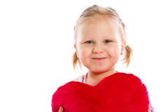 Little girl with heart. Beautiful little girl with heart Royalty Free Stock Photos