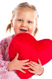 Little girl with heart. Beautiful little girl with heart Royalty Free Stock Images