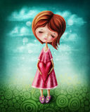 Little girl with a heart stock illustration