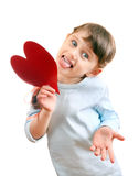 Little Girl with a Heart Shape Stock Photography