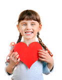 Little Girl with a Heart Shape Royalty Free Stock Images