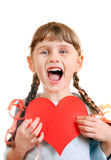 Little Girl with a Heart Shape Royalty Free Stock Photography