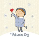 Little girl with  heart, valentines day postcard Royalty Free Stock Image