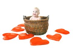 Little girl with heart on white. Little girl in the basket on white background concept day saint valentine's Stock Photos