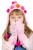 The  little girl heats hands Stock Photo