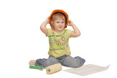 The little girl in a helmet Stock Images