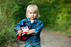 Little girl with helmet Royalty Free Stock Photography