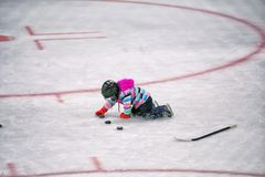 Little girl in helmet playing on hockey rink with pucks. A five year old girl in winter gear and hockey helmet and skates lining up a row of pucks on an ice Royalty Free Stock Photos