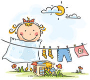 Little girl helping her mother with the laundry vector illustration