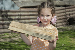 A little girl helps to carry firewood. Royalty Free Stock Photography