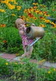 Little girl helps water the flowers stock photos