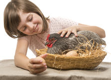 Little girl with a hen (chicken) Royalty Free Stock Photos