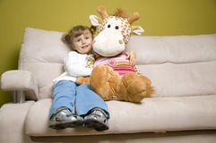 Little girl with her big friend Royalty Free Stock Photography