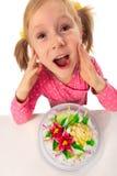 Little girl in her birthday Stock Photo