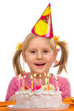 Little girl in her birthday Stock Images