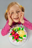 Little girl in her birthday Stock Photos