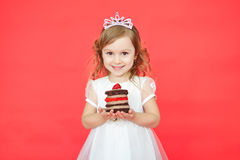 Little girl and her birthday cake Royalty Free Stock Photos