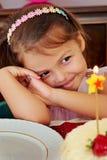 Little girl on her birthday stock image