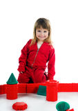 Little girl with her blocks Stock Image