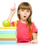 Little girl with her books Royalty Free Stock Photos