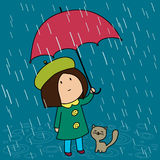 Little girl with her cat. Under the umbrella in a rainy day Royalty Free Stock Photos