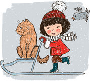 Little girl with her cat on the sledge Royalty Free Stock Image