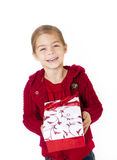 Little Girl with her Christmas Present Stock Photos