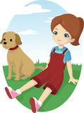 Little Girl and her dog. Vector illustration of a little girl sitting on the grass with her dog Stock Images