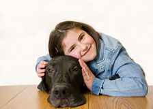 Little Girl With Her Dog stock images
