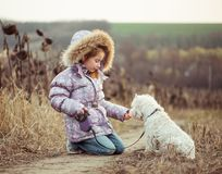 Little girl with her dog Royalty Free Stock Images