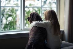 Little girl and her dog looking out the window. Royalty Free Stock Photo