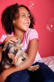 Little Girl and her dog Royalty Free Stock Photos