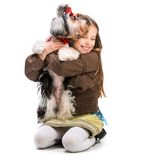 Little girl is with her dog Yorkshire Terrier Stock Photography