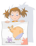 Little girl with her drawing. Stock Photo