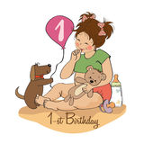Little girl with at her first birthday. Little girl at her first birthday,  illustration Royalty Free Stock Image