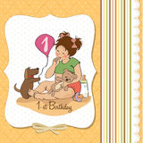Little girl with at her first birthday. Little girl at her first birthday, vector illustration Royalty Free Stock Images