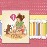Little girl with at her first birthday. Little girl at her first birthday, vector illustration Stock Photos
