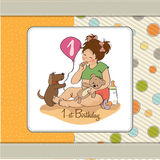 Little girl with at her first birthday. Little girl at her first birthday, vector illustration Stock Photo