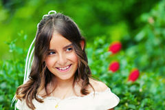 Little Girl with her First Communion Dress Stock Photos