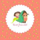 Little girl and her friend-caterpillar Stock Photos
