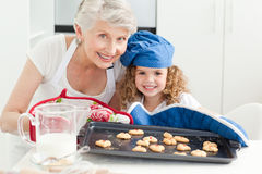 A little girl with her grandmother Stock Photos