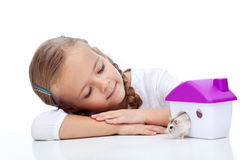 Little girl with her hamster royalty free stock photos