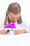Little girl and her hamster Royalty Free Stock Photo