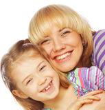 Little girl with her happy mom isolated on white Stock Image