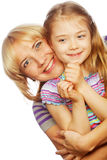 Little girl with her happy mom isolated on white Royalty Free Stock Image