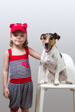 Little girl with her Jack Russell Terrier Royalty Free Stock Image