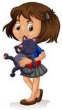 Little girl with her kitten Stock Images